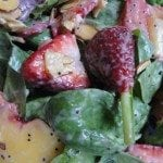 Spinach Salad with Strawberries, Peaches and Poppyseed Dressing