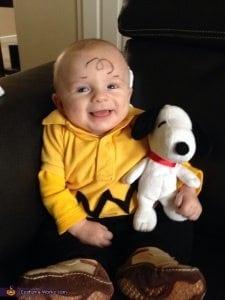 homemade charlie brown baby costume