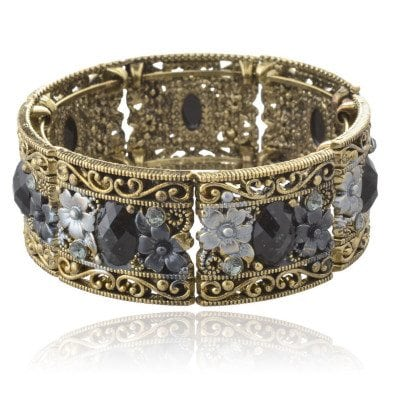 copper and black bracelet