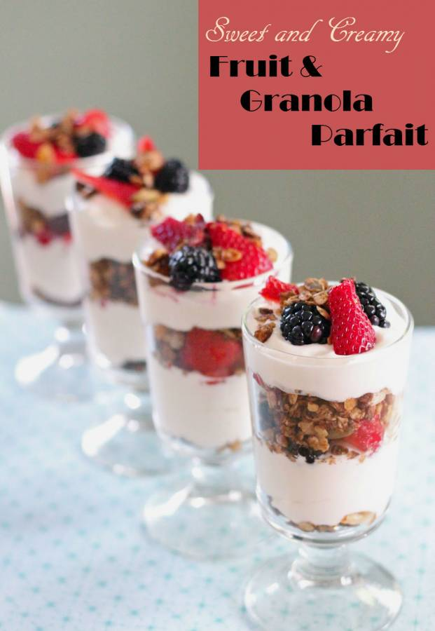Fruit and Granola Parfait is a sweet treat for the kids and family. It is delicious as dinner dessert or as breakfast. Freeze them before you serve.