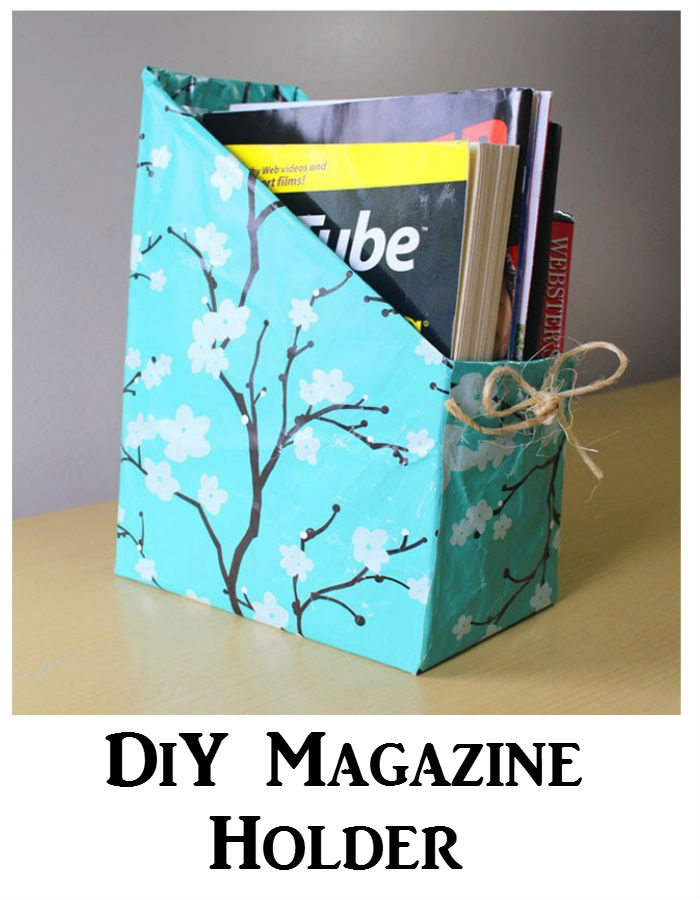 Organize books and magazines with DIY magazine holder. Sturdy and colorful holder to keep everything in place.