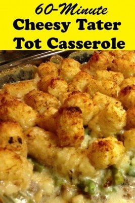 Creamy, cheesy and simple Cheesy Tater Tot Casserole is surely a classic comfort food.  It is a heavy meal that adults and kids alike would love.