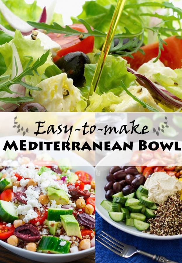 Have you ever had a Burrito Bowl at Chipotle? This is my Mediterranean version, and it's an easy dinner because everyone makes their own just the way they like it.