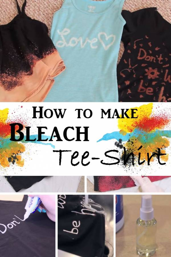 Add artisitc touch to your plain shirts with bleach. DIY bleach shirts are perfect this summer!