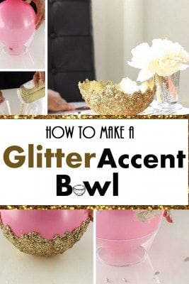 A DIY glitter accent bowl easily adds glamour to your home. It can hold light stuff and trinkets like candies, pencils, etc.