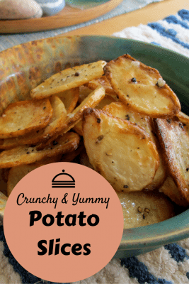 Crunchy and yummy Potato Slices that are delicious appetizer or side dish for a party. A tangy alternative to boiled or mashed potato. Not your average potato appetizer.