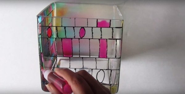 DIY Stained Glass Mosaic jar