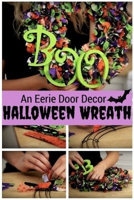 Halloween wreath that does not only beautify your door, but bring a scare to your neighbors. Easy to make with a few materials.