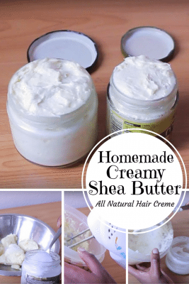 Keep your hair healthy and shiny with homemade creamy shea butter made from simple ingredients you can find at home.