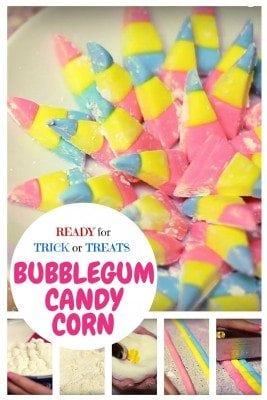 Homemade bubblegum candy corn is the perfect Trick or Treat sweets for kids. Satisfy your sweet tooth!