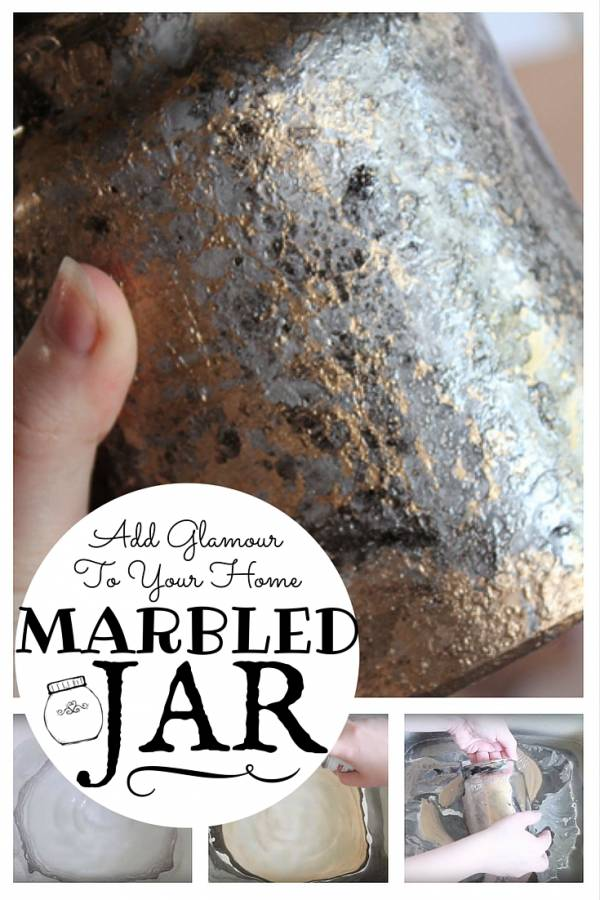 Add glamour and beauty to your home with this DIY marbled jar. With simple materials, you can turn a plain jar into a unique eye-catching centerpiece.