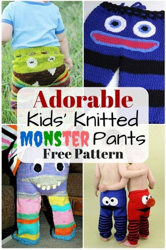 Super cute knitted monster pants that you and your kids will surely adore. Click to see the tutorial and free patterns for your convenience.