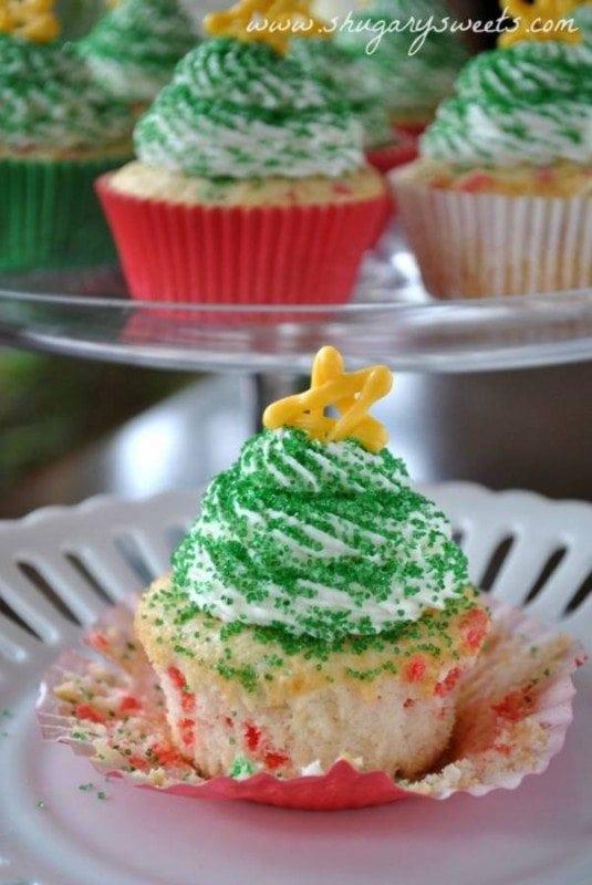 Christmas Tree Confetti Cupcakes