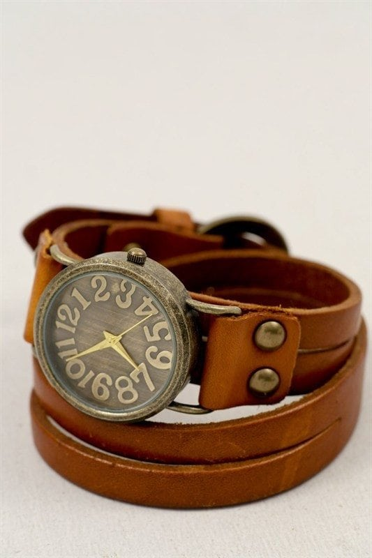 leather cuff wrap bracelet watch