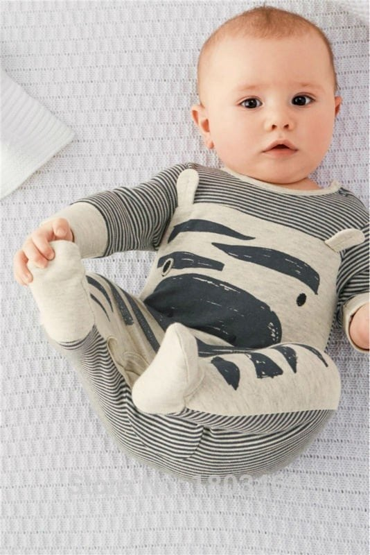 zebra gray long-sleeved baby rompers