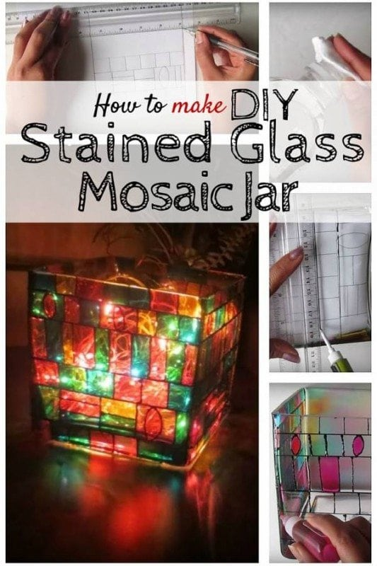 A beautiful centerpiece that you can create in 4 simple steps. A DIY stained glass mosaic jar is a great addition to any living space.