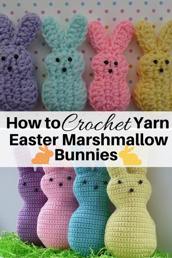 how to crochet yarn easter marshmallow bunnies