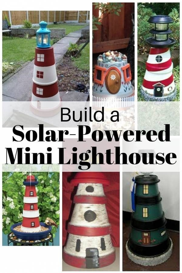 A mini lighthouse, made from clay pots, is a beautiful addition to your garden. It also provides lighting around the property to maximize your outdoor experience.