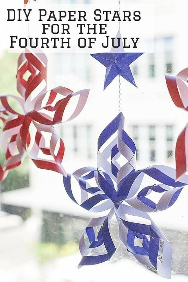 These DIY paper stars set the festive mood for Fourth of July celebration. They are great as garland or simply hang them on your windows.