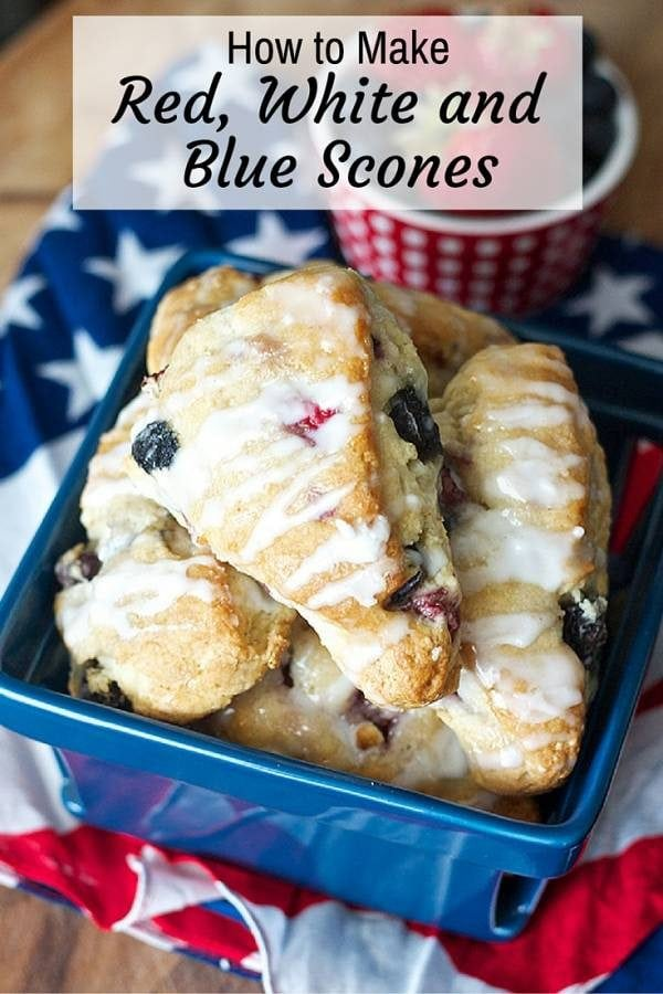 These red, white and blue scones are great picnic food as you watch the Fourth of July fireworks. They are delicious, easy to make and fun to share with.