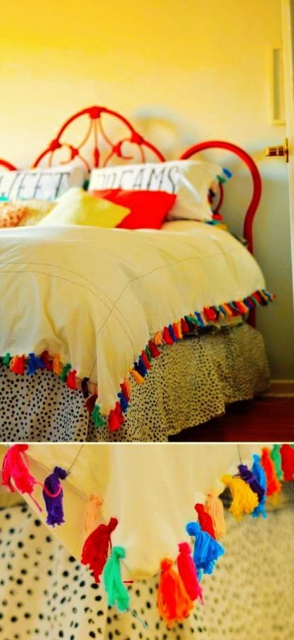 Add bright colors to your bedroom with DIY tassels on your bed cover.