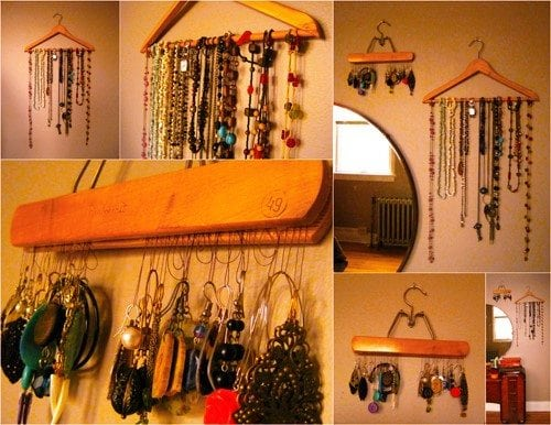 Transform old wooden hangers into functional jewelry organizer.