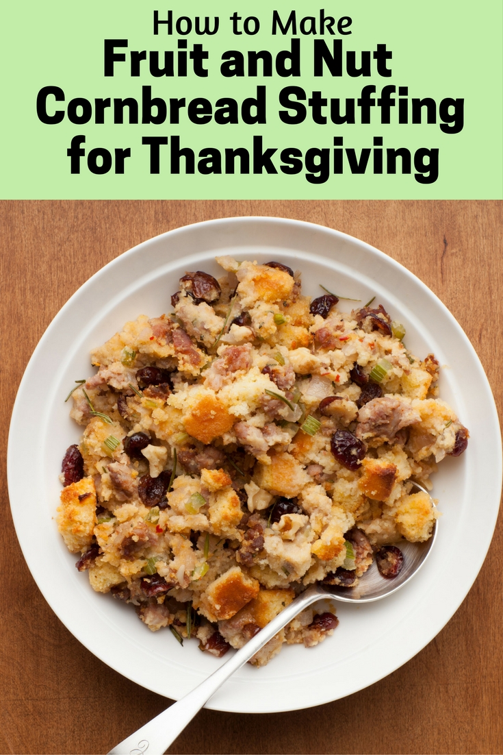 Excellent for holidays or family gatherings, Fruit and Nuts Cornbread Sausage Stuffing is easy to make and very tasty. A classic cornbread stuffing with a modern twist of nuts and fruits. Simple yet memorable dish.