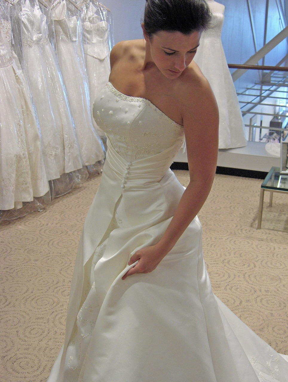 Pre-loved clothes are the trend these days for wedding gowns.