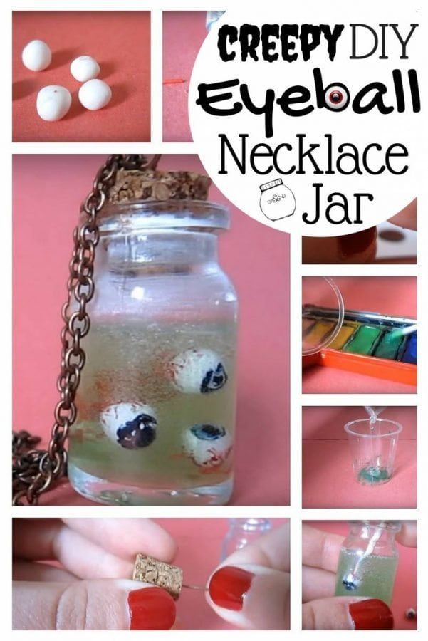 Halloween is just a few days away. Surprise a friend with this super creepy eyeball necklace jar that is easy to make.