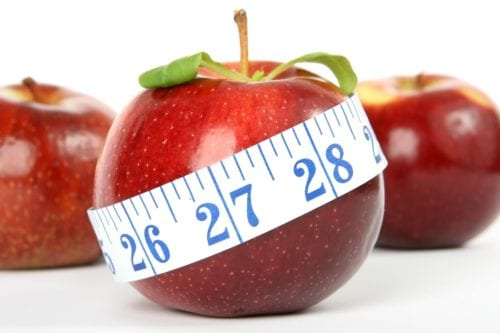 Picture of a measuring tape around an apple