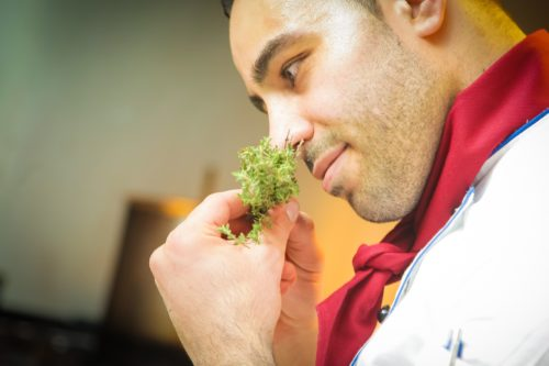 Chef smelling herbs, possibly parsley
