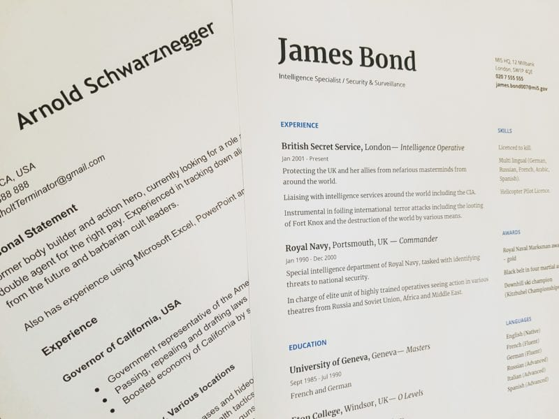 Sample resumes for James Bond and Arnold Schwarzenegger