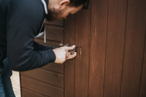 A man fixes a lock