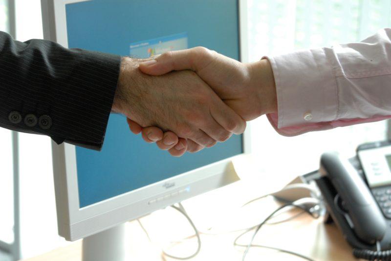 Handshake between two professionals