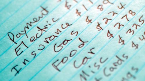 a handwritten budget