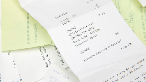 many receipts overlapping