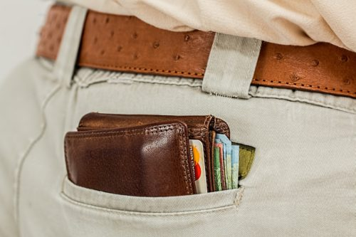 Wallet in a man's pants pocket