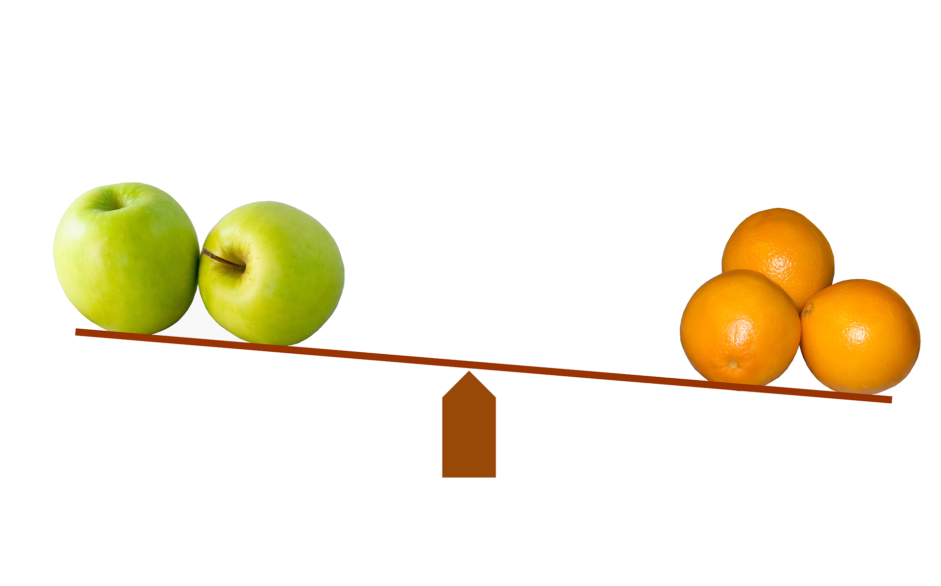 Apples versus oranges on a scale