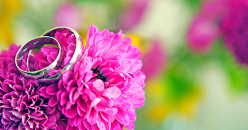 Flower holding wedding rings
