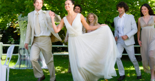 Bride wearing a modest wedding dress