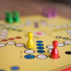 A board game in progress