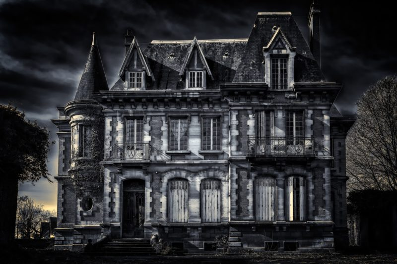 A spooky haunted house
